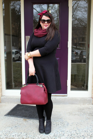 black Target boots - black Old Navy dress - brick red H&M scarf