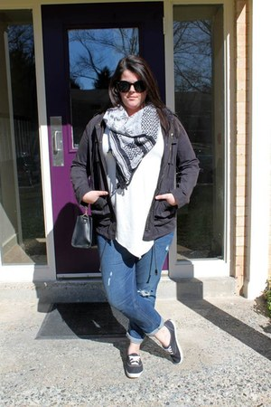 navy Old Navy jeans - black H&M jacket - black scarf - black JCPenney bag