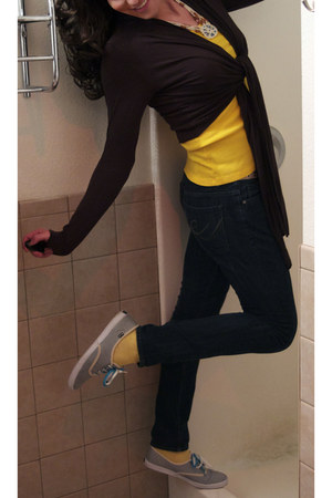 navy Forever 21 jeans - yellow Urban Outfitters blouse - Keds shoes - dark brown