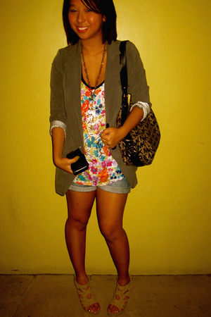 gray Charlotte Russe blazer - Forever 21 top - Wet Seal shorts - Michael Kors pu