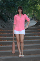 white Stradivarius shorts - pink Atmosphere shirt - light brown Atmosphere bag