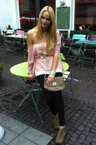 light pink Zara blouse - black American Apparel leggings - camel asos bag
