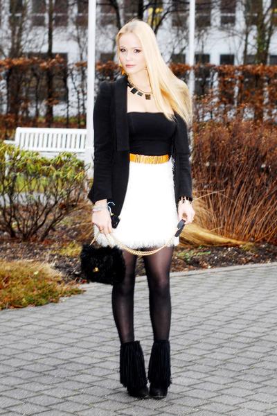 fury H&M bag - MACHIMA blazer - fringed Zara heels - leather Moschino belt