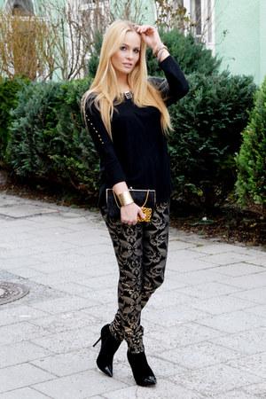 black studded Zara shirt - black pearl clutch vintage bag
