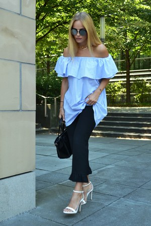 off shoulder Zara dress - Mango sunglasses - volants Zara pants