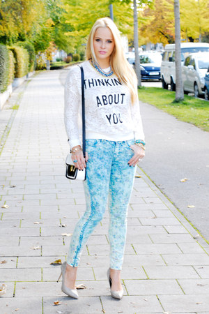 white lace Spitfire sweater - light blue flower H&M jeans