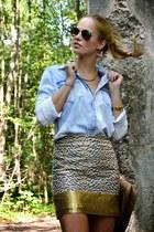 yellow tiger H&M skirt - sky blue denim H&M shirt - camel quilted asos bag