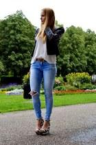 black leather H&M jacket - black trapez Mtc bag - white striped Zara wedges