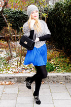 silver fur SmartGirl sweater - blue Zara skirt - black studs Zara heels
