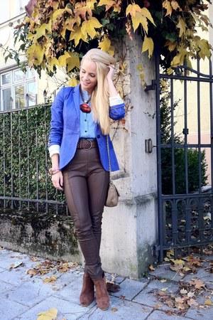 Zara blazer - H&M boots - asos bag - GINA TRICOT pants - MACHIMA blouse