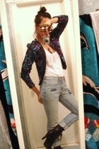 Goodwill jacket - BCBG top - UO jeans - payless boots