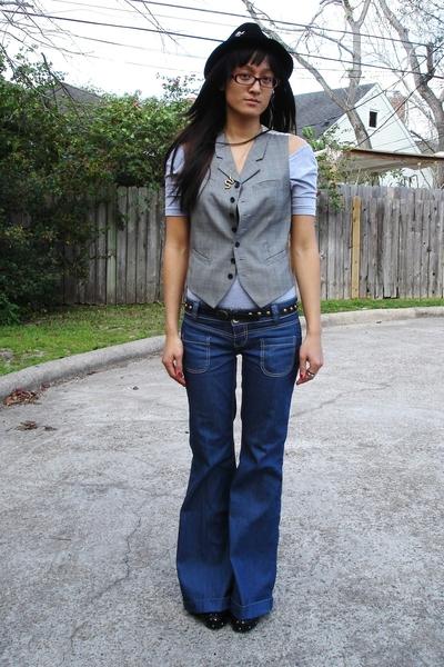 aa top - banana republic vest - Target belt - Zara jeans - Salvation Army shoes