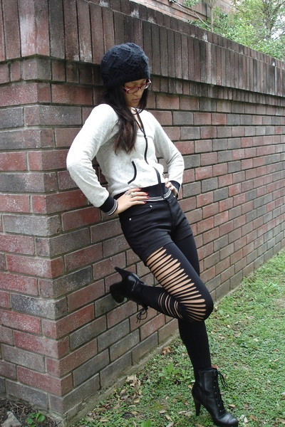 black high-waisted f21 shorts - black lace up bootie Payless boots