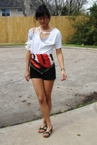 Hanes t-shirt - f21 shorts - vintage scarf - Target shoes - aa top - Chloe acces