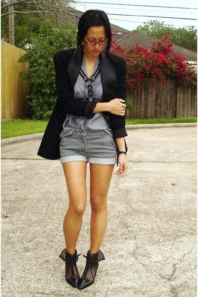 Salvation Army blazer - Ebay accessories - Target blouse - McQueen for Target sh