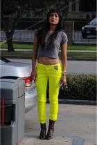 gray UO top - black crown vintage shoes - yellow tripp pants