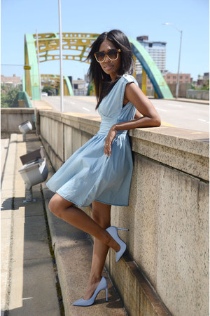 light blue denim H&M dress - light blue reflective Jeffrey Campbell shoes