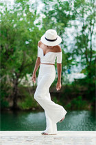 white straw J Crew hat - light pink Jeffrey Campbell shoes