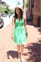 green lace Yoana Baraschi dress - tan linen Cheap Monday shoes