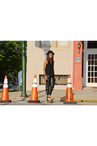 black solitaire heels Jeffrey Campbell shoes - black felt Urban Outfitters hat