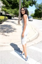 silver reflective Jeffrey Campbell shoes - heather gray cotton asos dress
