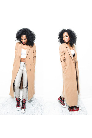 tartan Converse sneakers - camel coat Forever21 coat - crop top asos t-shirt