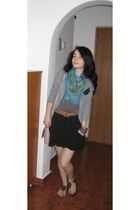 silver H&M cardigan - brown shoes - black Zara skirt