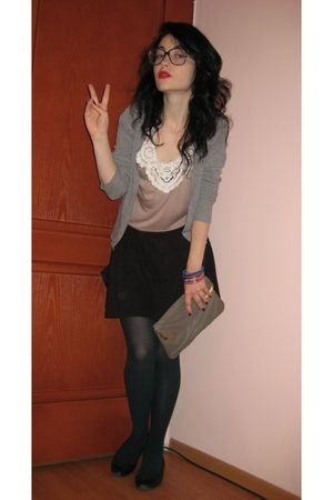 silver Zara cardigan - black Zara skirt - black H&M shoes - brown Accesorize pur