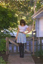 thrifted skirt - Charlotte Russe boots - thrifted belt