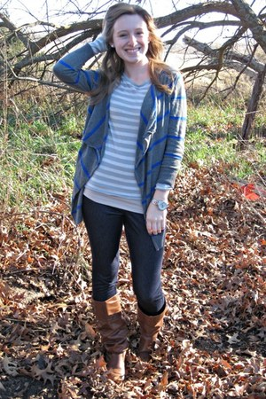 Target boots - jeggings No Nonsense leggings - stripes American Eagle cardigan