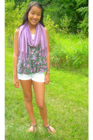 purple vintage scarf - black Forever 21 top - pink Target top - white American E