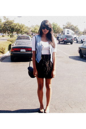 blue vest - white Forever 21 shirt - black Xhileration skirt