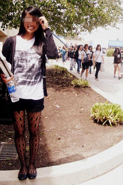 white shirt - black tights - black cardigan