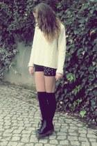 cream jumper - black boots