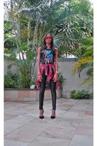 America Apparel pants - Forever 21 t-shirt - Wetseal blouse - Zara heels