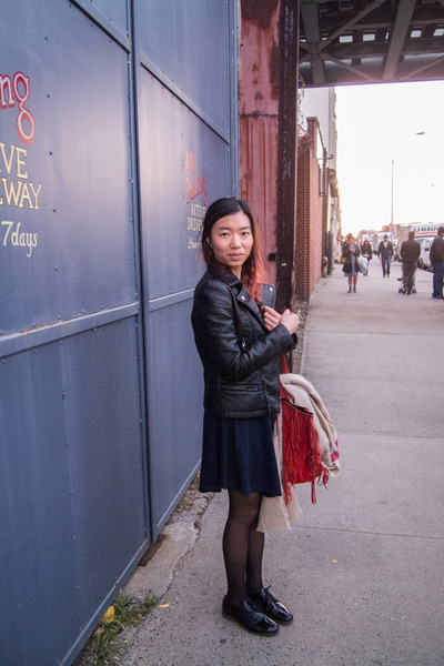black leather jacket Zara jacket - navy brandy melville dress