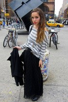black Forever21 skirt - off white brandy melville top - black banana republic be
