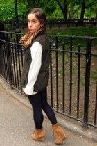 bronze Michael Kors boots - tawny MIKKAT MARKET scarf - green MIKKAT MARKET vest