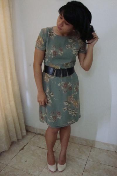 Laura Ashley dress - unbranded belt - unbranded shoes