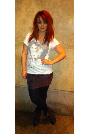dunnes stores boots - Forever 21 skirt - Penneys t-shirt - Penneys necklace