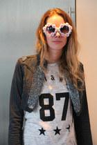 navy River Island jacket - heather gray Choies shirt - Choies sunglasses