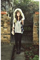 black Cheap Monday jeans - off white fur hooded Zara vest - heather gray Topshop