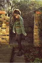 fur vintage hat - ecote jacket - leather Topshop shorts - Topshop belt - studded