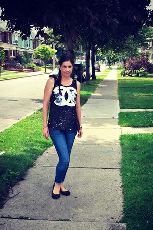 black tank top romwe shirt - navy Ardene jeans - black bow American Eagle flats