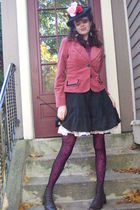 Zara blouse - jacket - stockings - boots - Betsey Johnson coat - hat