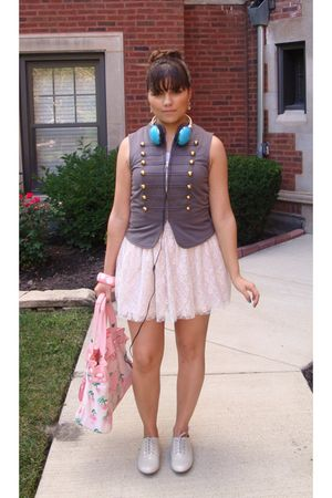 gray Wet Seal vest - pink Wet Seal skirt - pink Juicy Couture bag - pink boutiqu