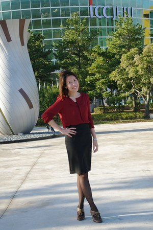 crimson Real Coco blouse - black skirt - brown Parisian heels