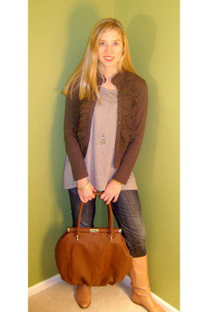 blue Visgoss jeans - tan Urban Outfitters boots - tawny Gilbert Halaby bag - bei
