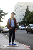 maroon American Apparel jacket - light blue J Crew shirt - blue Herschel bag