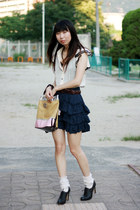 black Nine West shoes - neutral bag - cream ruffles Tutuanna socks - dark brown